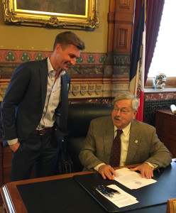 Roby Miller and Governor Terry Branstad.