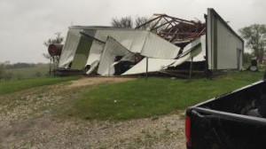 Building damaged by a storm in Stanton.