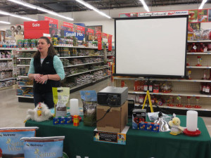 Jodi Holmes educates the public about chickens.