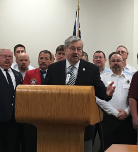 Governor Terry Branstad with emergency responders.