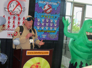 Iowa Lottery CEO Terry Rich introduces the Ghostbusters tickets.