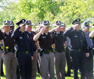 Dozens of officers turned out for the memorial ceremony.