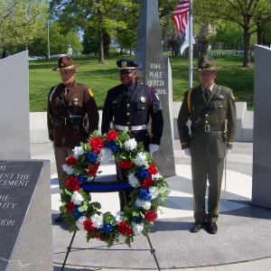 A wreath was placed at the Peace Officer Memorial at the end of the ceremony.