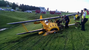 The plane crashed as the pilot attempted to land in a grassy area.