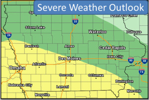 This NWS map shows southern Iowa is most likely to have severe weather.