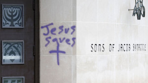 Vandals spray painted the Sons of Jacob Synagogue in Waterloo.