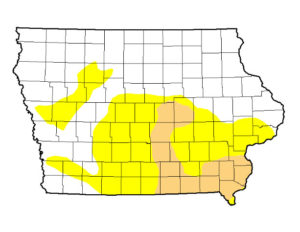 The drought monitor map shows yellow portions as abnormally dry, while the tan portions are moderate drought.