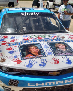 Joey Gase's car features a picture of his mother and organ donor