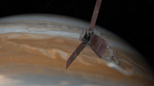 NASA illustration of Juno over Jupiter.