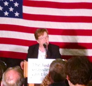 Patty Judge talks to supporters after winning the Democratic primary.
