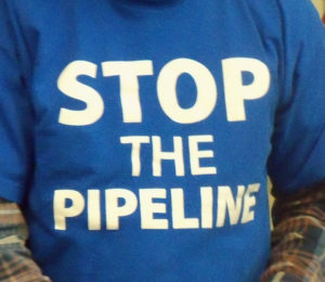 The t-shirt of a Bakken pipeline protester.