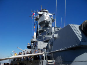 Hawkeye fans on the USS Iowa in December.