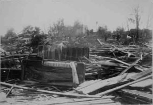 Poweshiek County Historical & Genealogical Society photo of the 1882 tornado damage in Grinnell.