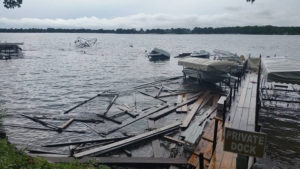 Storm damage at Lake Okoboji.
