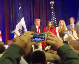 Donald Trump talks to supporters after finishing second in the Iowa Caucuses.