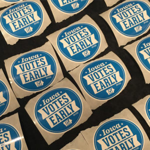 Stickers given to Iowa delegates at the convention.