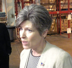 Senator Joni Ernst talks with reporters.