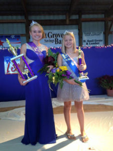 2015 Lee County Fair Queen Rachel Mehmert and Junior Fair Queen Hailey Tweedy.