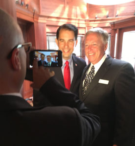 Wisconsin Governor Scott Walker visited Iowa delegates in Cleveland.