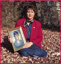 Marilyn Adams with a picture of her son Keith 30 years ago.