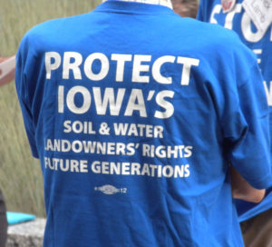The back of a pipeline protestor's shirt.