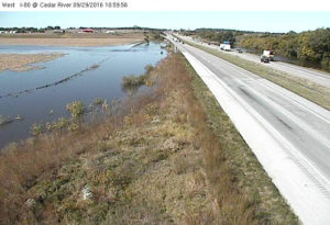 DOT cam showing the Cedar River along I-80 near the Tipton exit.