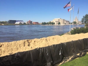 Volunteers helped build the flood wall which protected Cedar Rapids.