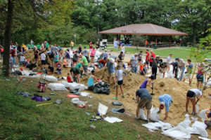 Volunteers helped fill sandbags in preparation for the flooding in Cedar Rapids.