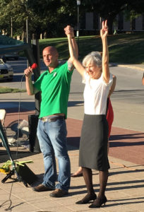 Rally organizer Chris Laursen & Jill Stein.