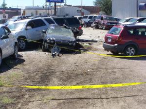 Cars wrecked by a wayward semi.
