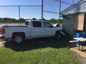 A truck that was driven into the Highland Park Little League concession stand.