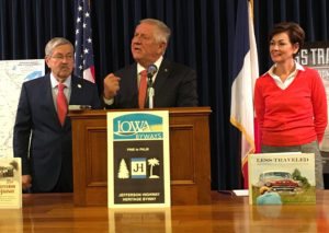 Governor Terry Branstad, Loring Miller of Leon and Lt. Governor Kim Reynolds.