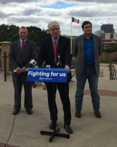 State Treasurer Mike Fitzgerald, Attorney General Miller and Charlie Wishman of Iowa AFL-CIO.