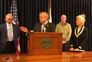 (L-R) Private donor Suku Radia; Branstad; donor Kurt Rasmussen & Kristine Bartley of DAR