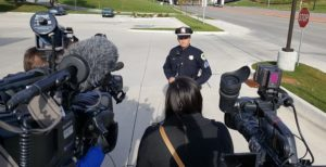 Sgt. Parizek addresses media near the site of Tuesday's shooting