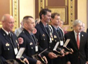 Cedar Falls firefighters Captain Derek Brown, Shane Farmer, T.J. Taylor and Troy Purdy.