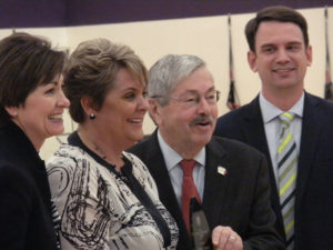 Lt. Governor Kim Reynolds, Shelly Vroegh, Governor Branstad, Dept. of Ed Director Ryan Wise.