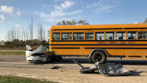 The driver of the car suffered life-threatening injuries in a crash with this school bus near Springville.
