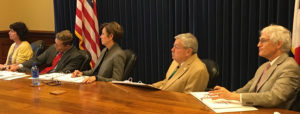 Lt. Governor Kim Reynolds and Governor Terry Branstad listen to budget requests.