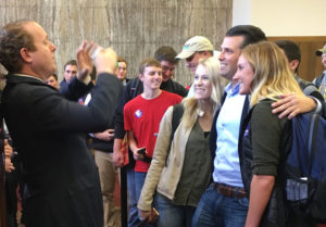 Donald Trump Jr. taking pictures with ISU students.