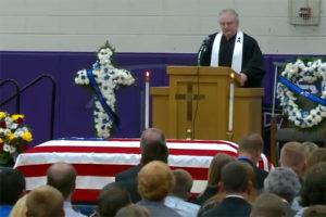 The casket of Urbandale officer Justin Martin.