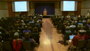 Neil Theobald speaks at a forum on the UNI campus in Cedar Falls.