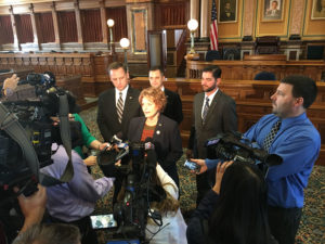 Linda Upmeyer meets with reporters in the House chambers.