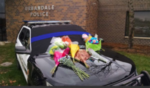 Memorial outside Urbandale Police Department.
