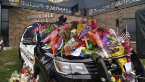 Memorial at Urbandale Police Department.