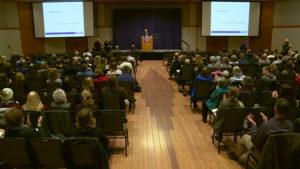 Jim Wohlpart at his campus forum.