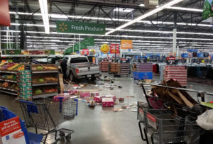 Three people died and one was injured when this truck crashed into the Pella Walmart store.