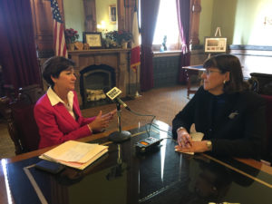 Lt. Governor Kim Reynolds and Radio Iowa's O.Kay Henderson.