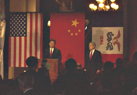 Governor Terry Branstad during a visit to Iowa by the future president of China in 2012.