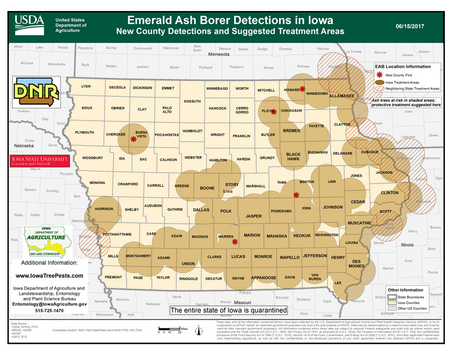 Emerald Ash Borer Now In Half Of All Iowa Counties - Counties in iowa